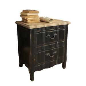 Čierny nočný stolík z dreva zimného dubu Orchidea Milano New Vintage