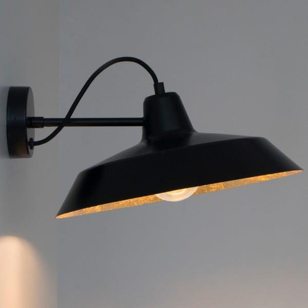 Čierne nástenné svietidlo s detailom v zlatej farbe Bulb Attack Cinco Basic