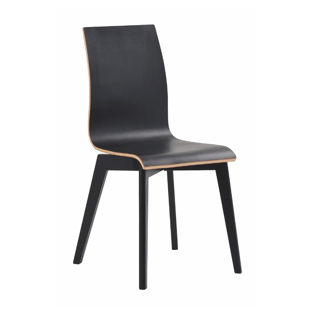 Čierna jedálenská stolička s čiernymi nohami Folke Grace