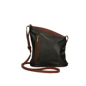Čiernohnedá kožená kabelka Chicca Borse Garturo