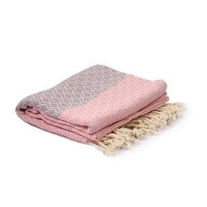 Fialovo-ružový hammam uterák Spa Time Dot, 95 x 180 cm