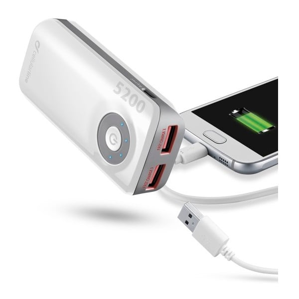 Powerbanka CellularLine EMERGENCY FREEPOWER, 5200mAh, biela
