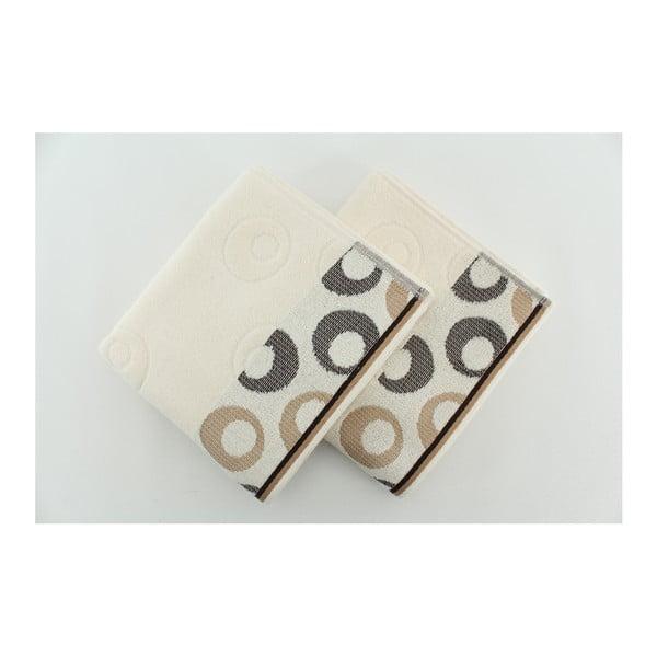 Sada 2 osušiek Arion Cream, Dark Brown, 50x90 cm