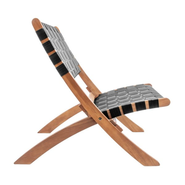 Čierna stolilčka z akáciového dreva s nylonovým poťahom Leitmotiv Weave