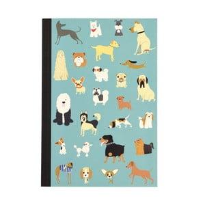 Zápisník so psíkmi vo formáte A5 linajkový Rex London, 60 strán