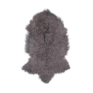 Tmavosivá ovčia kožušina s dlhým vlasom Hyggur, 85 x 50 cm