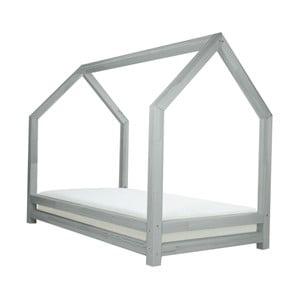 Sivá detská posteľ z lakovaného smrekového dreva Benlemi Funny, 120 × 200 cm
