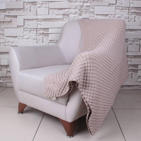 Béžová bavlnená deka Ecru, 170 x 130 cm
