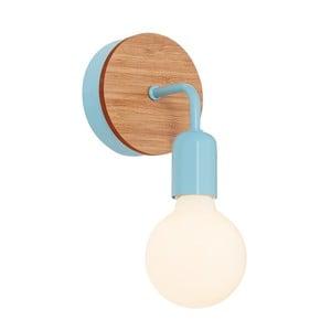Svetlomodré nástenné svietidlo s dreveným detailom Homemania Valetta