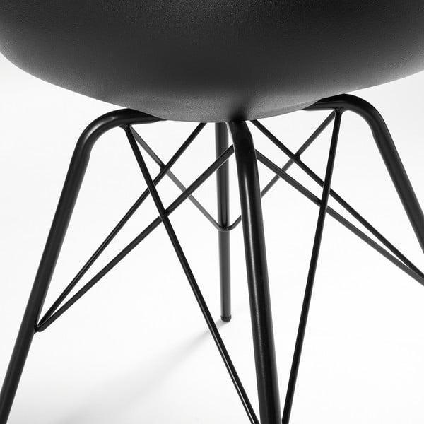 Čierna stolička s kovovým podnožím Lars