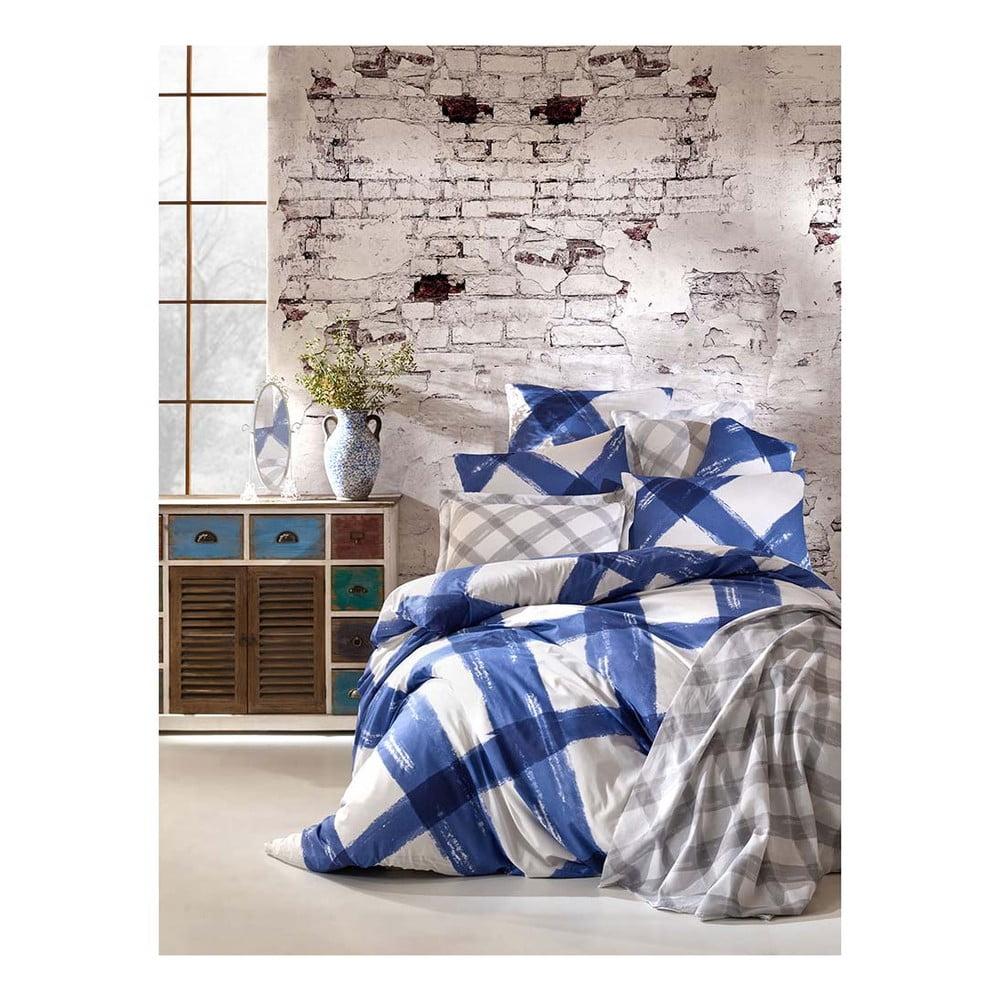 Bavlnené obliečky s plachtou na dvojlôžko Sanura Azul, 200 × 220 cm