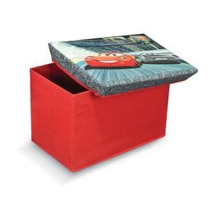 Červená úložná taburetka na hračky Domopak Cars, dĺžka49 cm
