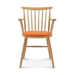 Drevená stolička s oranžovým čalúnením Fameg Asger