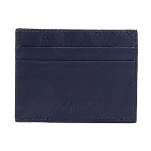 Tmavomodrá pánska kožená peňaženka na bankovky a vizitky Billionaire, 8 × 10 cm