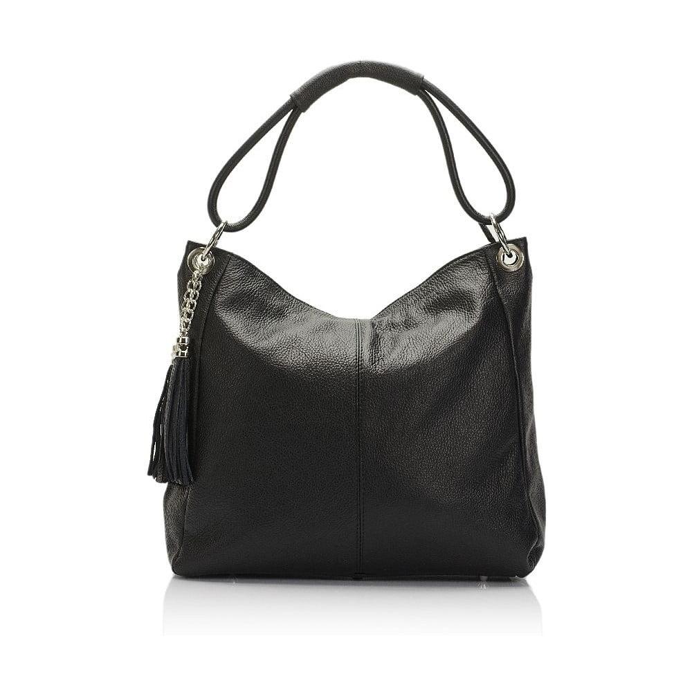 f0ec6baaf5 Čierna kožená kabelka Lisa Minardi Herta