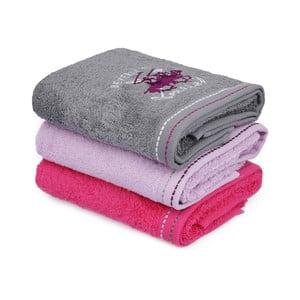 Sada 3 ružovo-sivých bavlnených uterákov na ruky do kúpeľni, 90 x 50 cm
