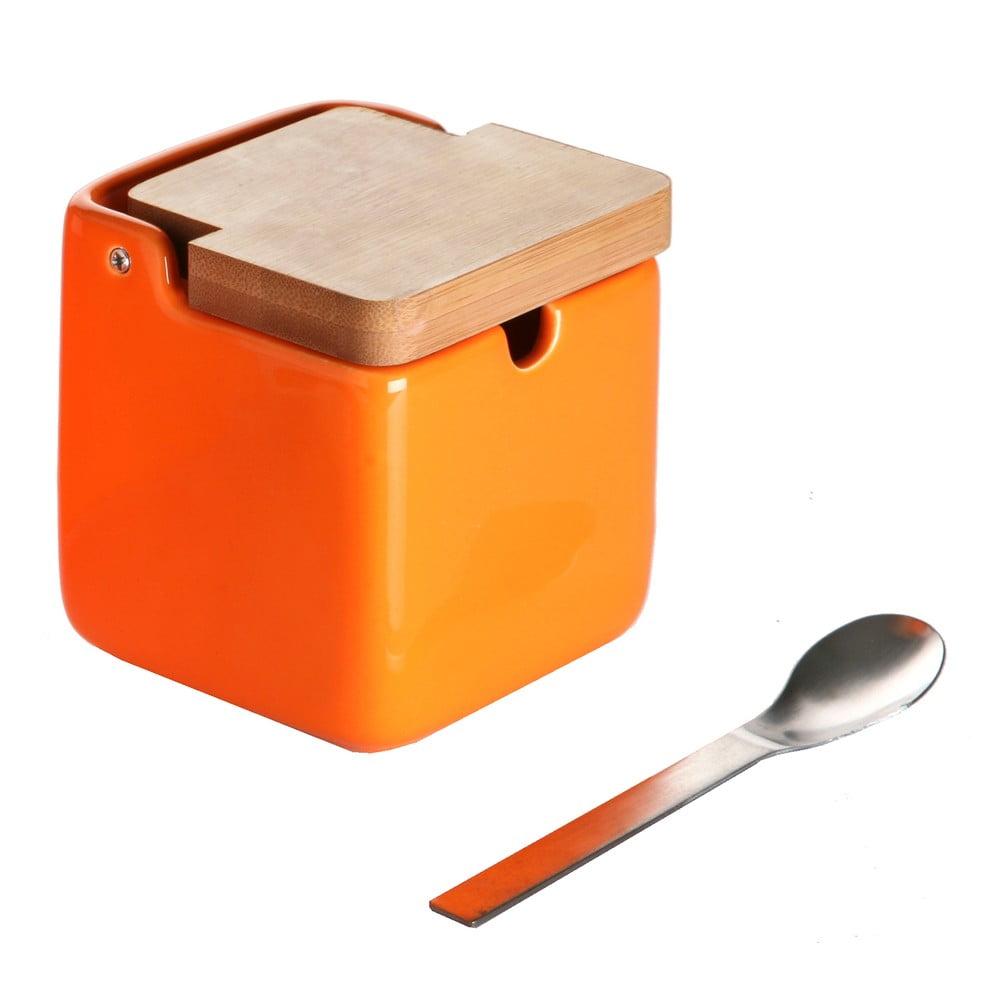 Set oranžovej dózy na cukor s lyžičkou Versa Spoon Wood