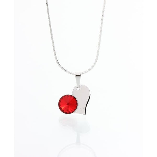 Červený náhrdelník so Swarovski krištáľmi Yasmine Heart