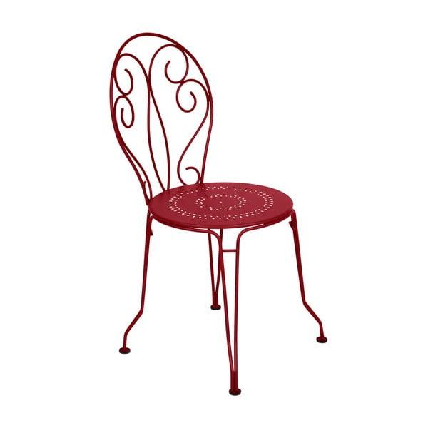 Sýtočervená kovová stolička Fermob Montmartre
