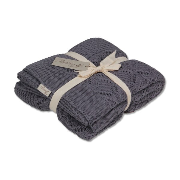 Tmavosivá bavlnená deka Cotton, 170×130cm