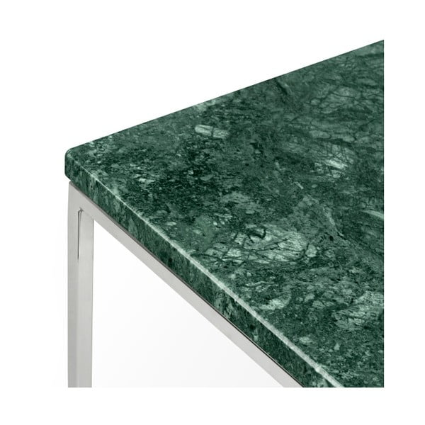Zelený mramorový konferenčný stolík s chrómovými nohami TemaHome Gleam, 50cm