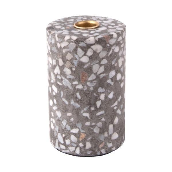 Sivý ručne vyrábaný svietnik PT LIVING Terrazzo Trois, výška 12,5 cm