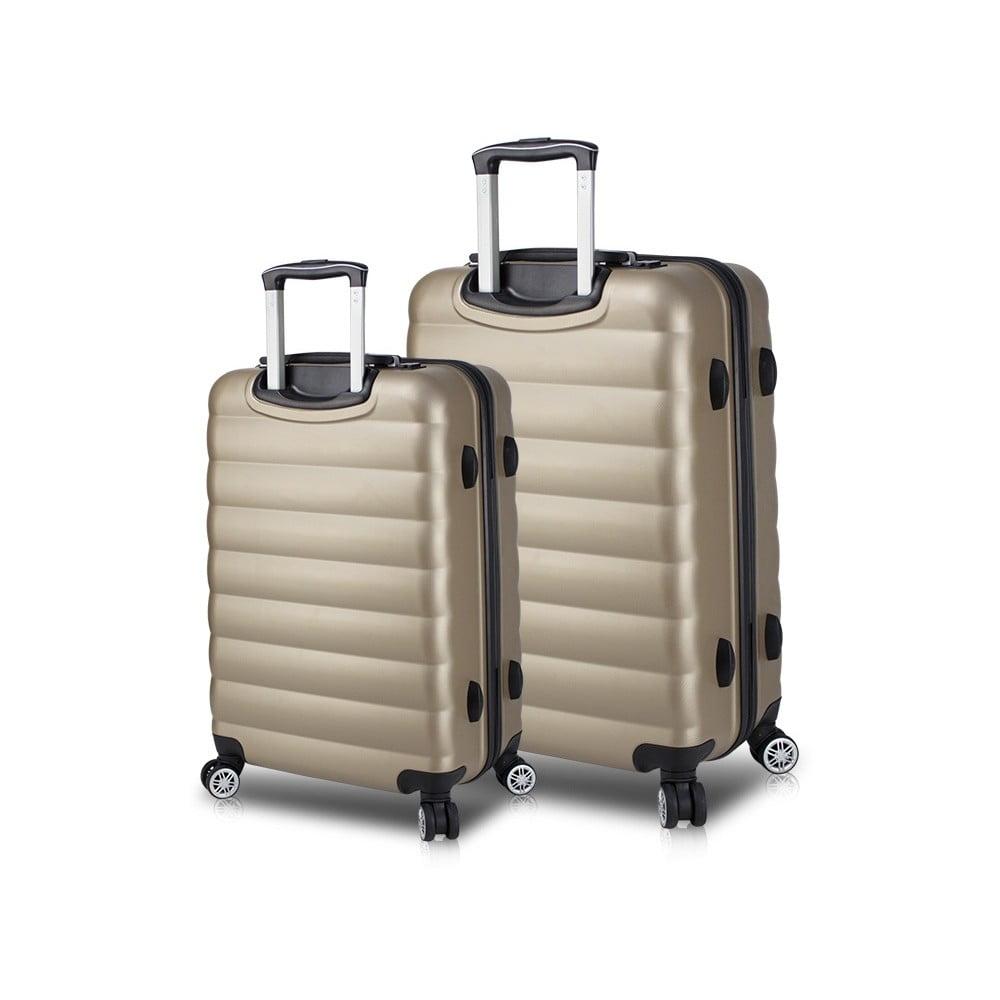 Sada 2 cestovných kufrov na kolieskach s USB porty v zlatej farbe My Valice RESSNO Large & Medium