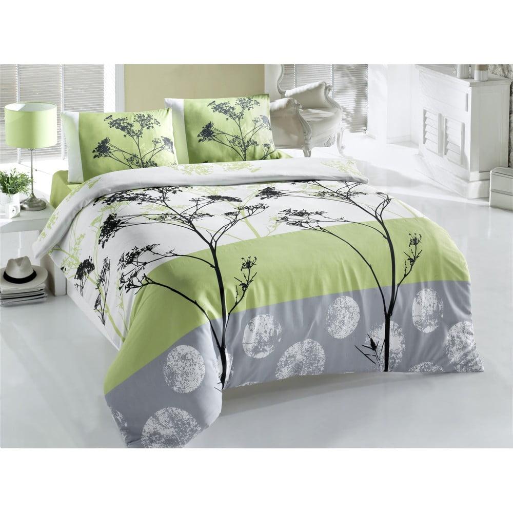 Zelené obliečky a plachta na dvojlôžko Blezza, 200 × 220 cm
