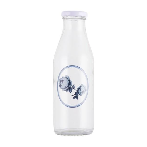 Sklenená fľaša na mlieko Creative Tops Vintage Indigo, 450 ml