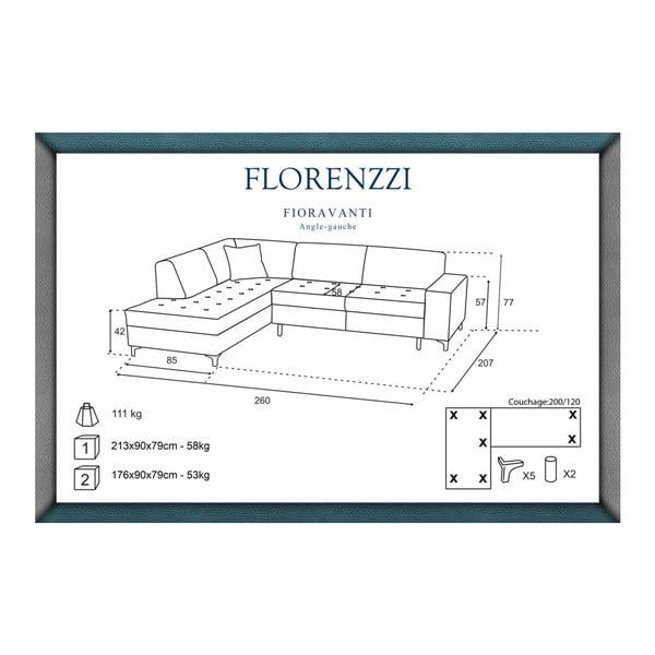 Tmavosivá pohovka Florenzzi Fioravanti s leňoškou na ľavej strane
