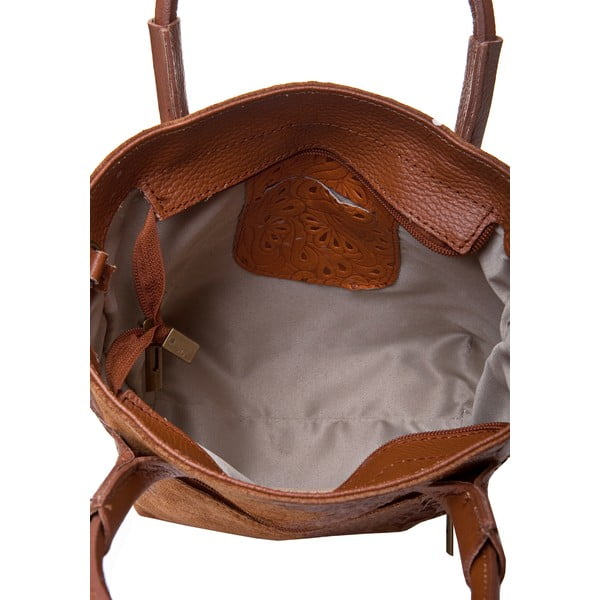 Koňakovohnedá kožená kabelka Massimo Castelli Laurita