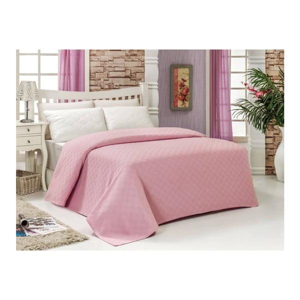 Ružový bavlnený pléd na dvojlôžko Audrey, 200×240 cm