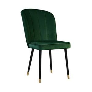 Tmavozelená jedálenská stolička s detailmi v zlatej farbe JohnsonStyle Leende