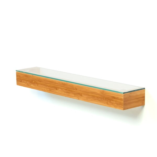 Sklenená polička do kúpeľne Bamboo Wireworks, dĺžka 55 cm