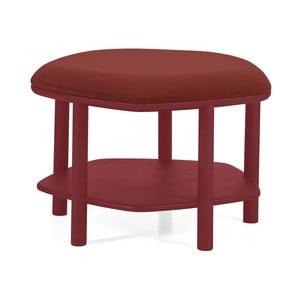 Červený taburet z jaseňového dreva HARTÔ Abel, ⌀55cm