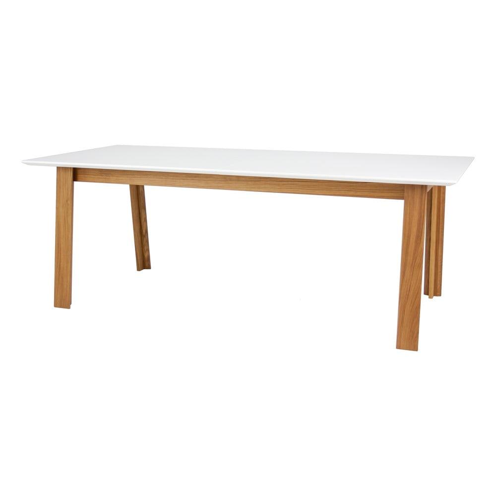 Biely rozkládací jedálenský stôl v dekore dubového dreva Tenzo Profil