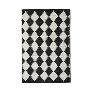 Čierno-biely bavlnený ručne tkaný koberec Pipsa Diamond, 60×90 cm