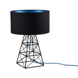 Čierna stolová lampa s modrým káblom Filament Pylón