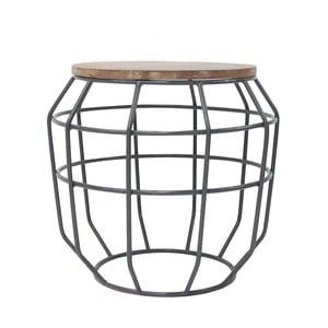 Tmavosivý príručný stolík s doskou z mangového dreva LABEL51 Pixel, Ø51 cm