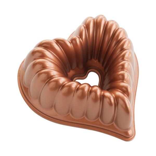 Forma na bábovku v tvare srdca v medenej farbe Nordic Ware Heart, 2,4 l