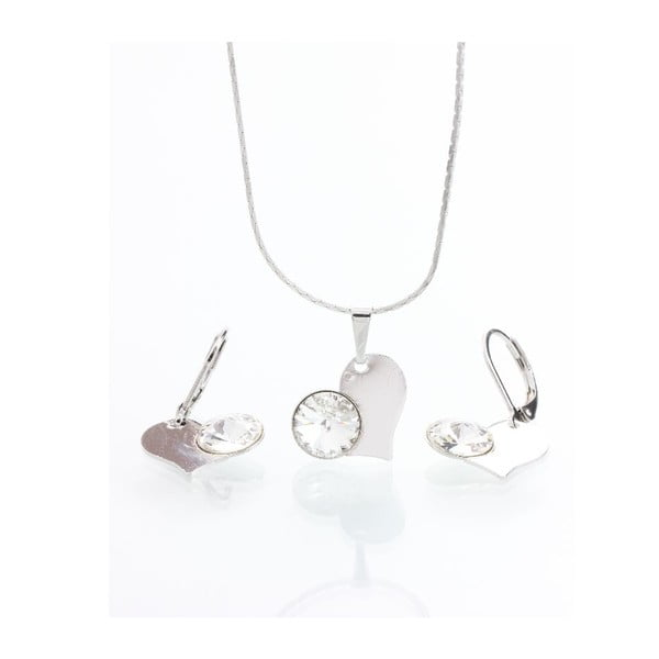 Set náhrdelníka a náušníc so Swarovski krištáľmi Yasmine Pure Heart