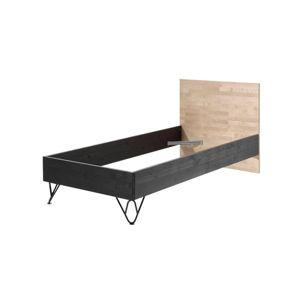 Rám postele z masívneho borovicového a brezového dreva Vipack William, 200 × 90 × 90 cm