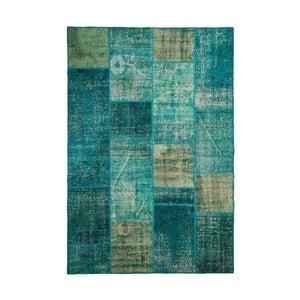 Vlnený koberec Allmode Patchwork Turquoise, 150x80 cm