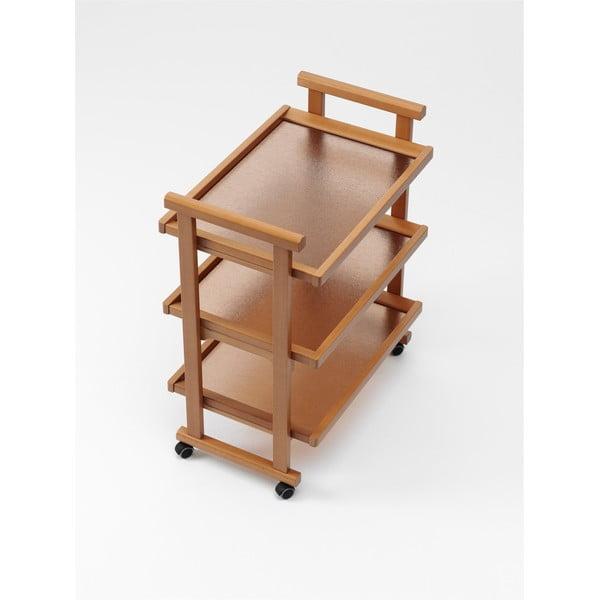 Pojazdný servírovací stolík z bukového dreva Arredamenti Italia Gregory