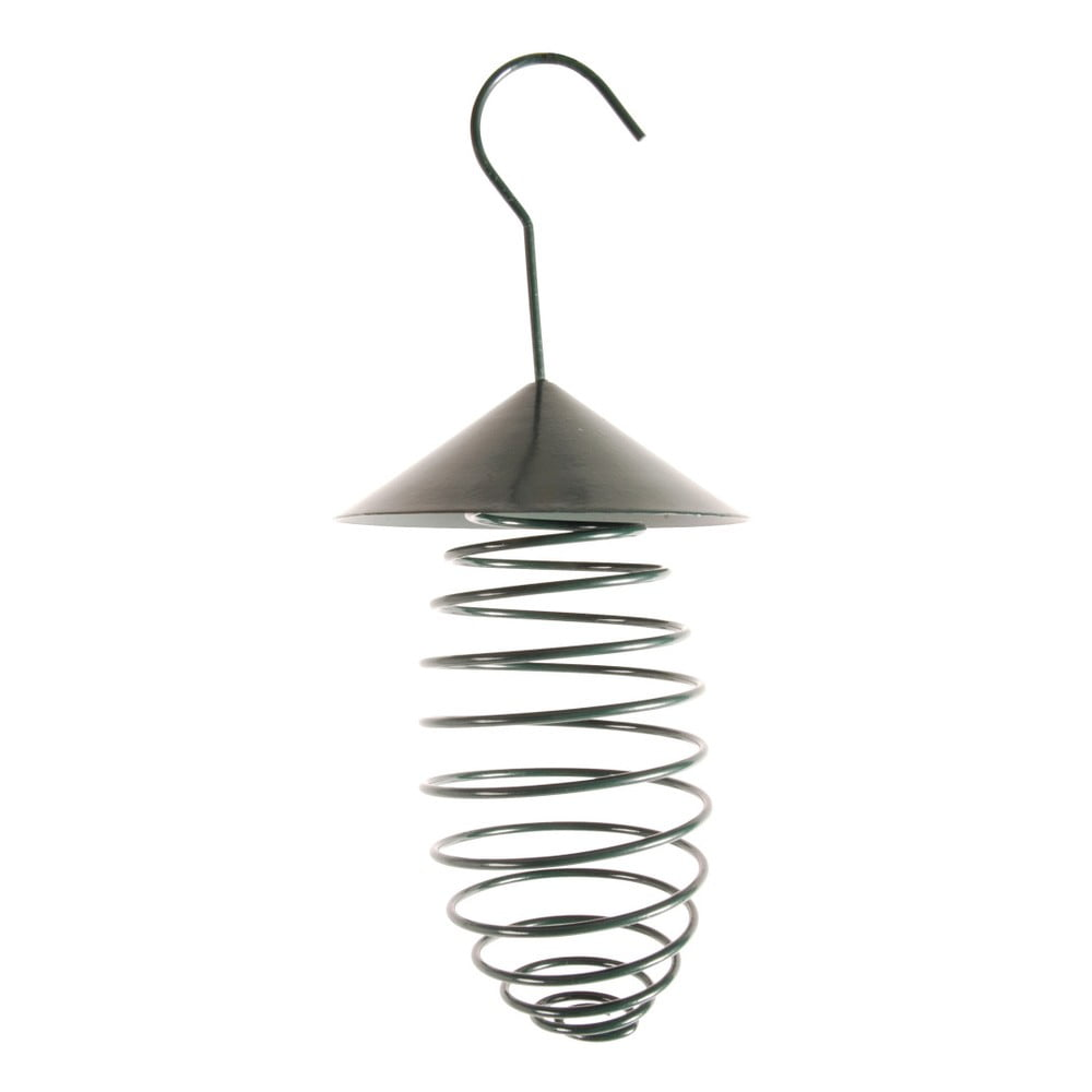 Tmavozelené kovové kŕmidlo so strechou Esschert Design, ⌀ 10,8 cm