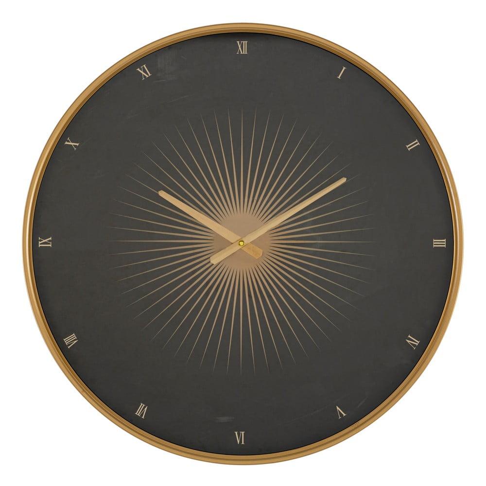 Čierne nástenné hodiny s rámom v zlatej farbe Mauro Ferretti Glam Classic, ø 60 cm