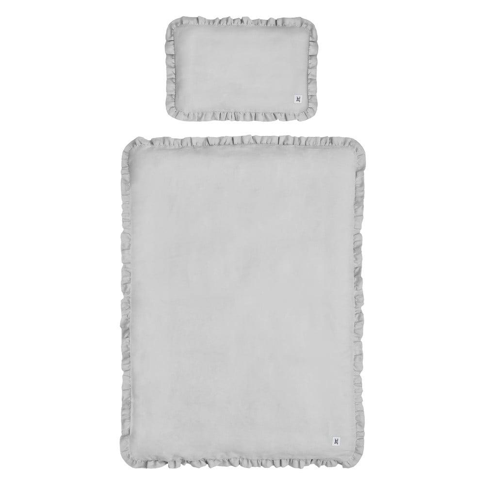 Sivé detské ľanové obliečky s výplňou BELLAMY Stone Gray, 140 × 200 cm