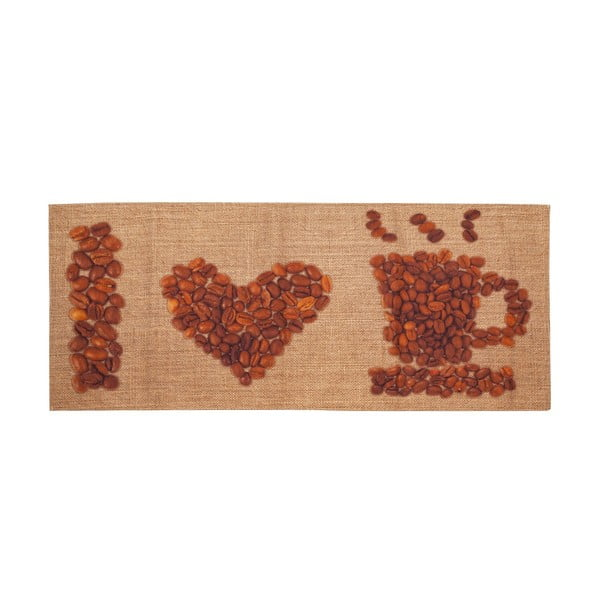 Vysokoodolný kuchynský koberec Love Coffee, 60x220 cm