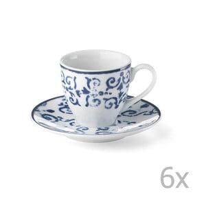 Sada 6 porcelánových šálok Antico Blue, 100 ml