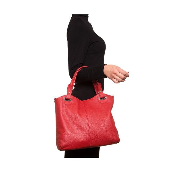 Červená kožená kabelka Nena